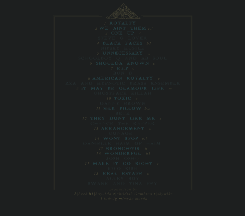 Childish Gambino - Royalty back cover